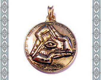 Necklace Illuminati Gold plated pendant gnostic illuminati logo pendant golden Viking amulet Medallion