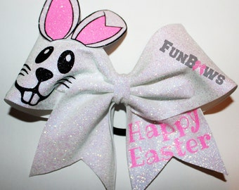Absolutely adorable glittery Easter Bunny Cheer Bow by FunBows !
