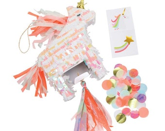 Unicorn Pinata Favor, Meri Meri Unicorn Party Favor, Iridescent Party Supplies, Mini Pinata Unicorn, Birthday Party Decorations