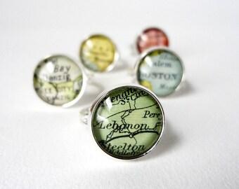Personalised Ring, Adjustable Silver Ring, Custom Ring, Vintage Maps