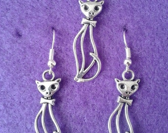 Cat Earrings and Necklace Set * Tall Elegant * Kitten * Witch * Pet * Cute