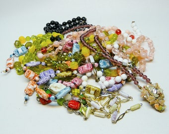 lot of vintage bead jewelry for crafts some plastic most are glass  K