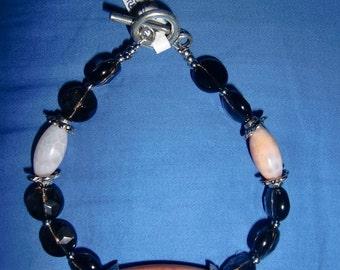 Bracelet with Agate Fire Smoky Quartz