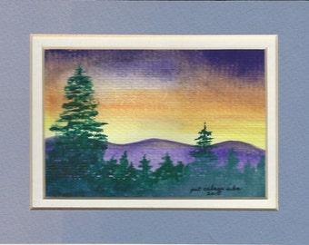 Purple Mountain Watercolor print  3x5