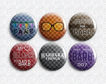 Stranger Things Justice For Barb 6 Pack - Pinback Badge / Magnets / Sticky