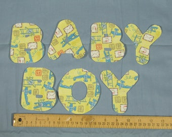 "Ready to sew ""Baby Boy"" Applique letters"