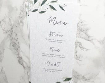 Watercolour Botanical Wedding Menu // custom stationery // hand painted // boho wedding // foliage design