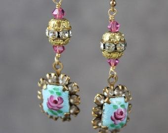 Handmade Dangling Vintage Guilloche Blue Rose Enamel, Rhinestone and Crystal 14K Gold Fill Dangle Earrings