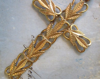 large crucifix pendant - leaf motif, gold tone - 1-7/8 x 3 inches