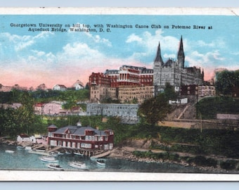 Vintage Postcard Washington DC Georgetown University 1920s White Border Canoe Club