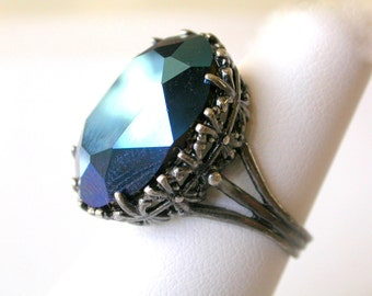 Blue Gothic Ring  Swarovski Metallic Blue Crystal Solitaire Ring Gothic Jewelry