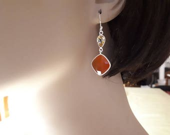 Carnelian and citrine gemstone earrings, faceted, set in 92.5 sterling silver