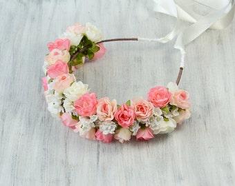 Rose Flower Crown Bridal Flower Headband Wedding Flower Halo Floral Bridesmaid Headpiece Flower Girl Head Wreath Rustic Boho Flower Crown
