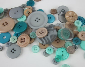 Brown Blue Green Ocean Tide Mix Buttons 50g 2oz