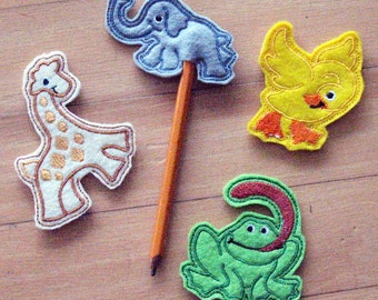 Party favors, Pencil toppers, animal pencil toppers, Felt, Embroidered Pencil topper, giraffe, frog, monkey, duck, elephant