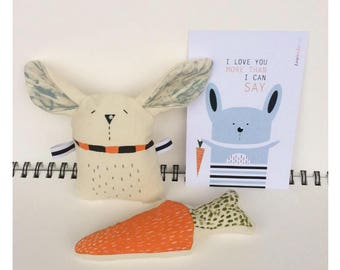 Bunny with carrot - Baby toy - Soft toy - Easter decoration - Bunny print