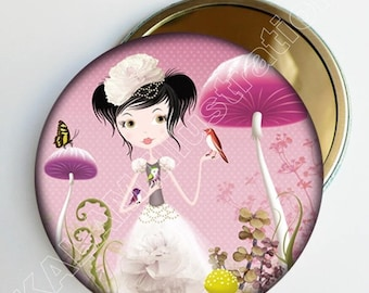 Pocket mirror 'Forest mushrooms' pink background, accessory bag girl