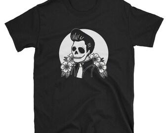 Man in Black - Johnny Cash, Original Greaser Skull Tattoo illustration black t-shirt