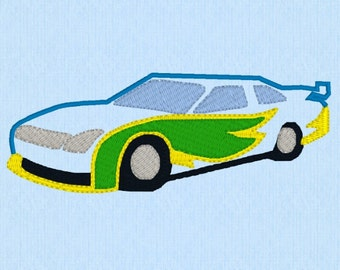 Race car or muscle car applique machine embroidery design file