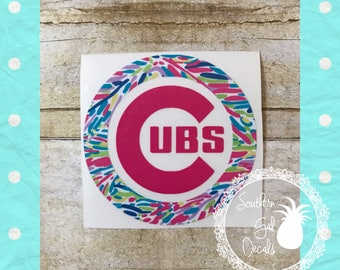 Chicago Cubs Inspired Decal with Lilly Pulitzer Inspired Vinyl