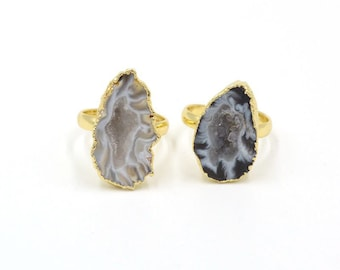 Natural Geode Agate Freeform Unshaped Irregular Rough Stone Finger Rings Drusy Druzy Ring