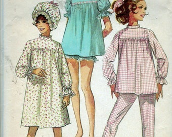 Vintage 1968 Simplicity 7841 Misses Pajamas in Two Lengths Nightgown and Curler Cap Sewing Pattern Size 12 Bust 34""