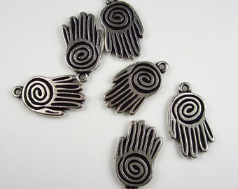 20 Silver Tierracast Large Spiral Hand Charms