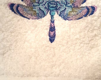 Stunning Rose Dragonfly Hand Towel