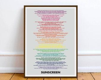 Baz Luhrmann - Wear Sunscreen  - quote - Lyric Art Typography music Print Poster friendship gift birthday Baz Luhrmann
