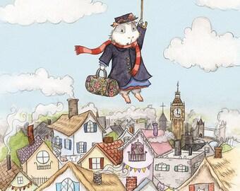 """Guinea Pig Mary Poppins - """"Mary Popcorns"""" Guinea Pig Art Print"""
