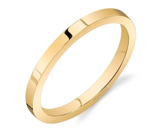 14k Yellow Gold Band (2mm THIN) / PLAIN / Polished Flat + Comfort Fit / Men's Women's Wedding Ring Thin