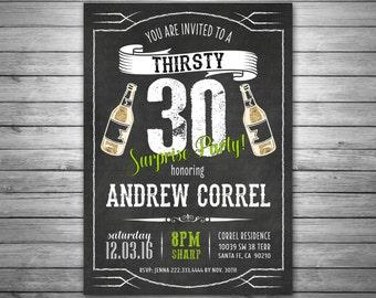 30th Birthday Invitation, Thirsty Thirty Birthday Invitation, Milestone Invitation, Beers and Cheers Invitation, Mens Birthday