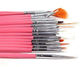 15pcs Nail Art brushes UV-Gel Painting Drawing Dotting Pen Polish Brush Set Manicure pink