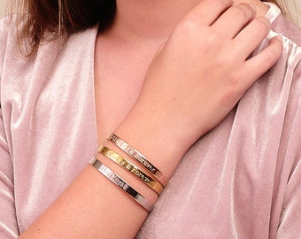 Personalized Cuff Bracelets, Custom Bracelets, Inspirational Bracelet, Stacking Dainty Cuff, Stacking Bracelets, Personalized Jewelry
