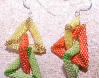 citrus triangle drop earrings tangerine, lemon and lime