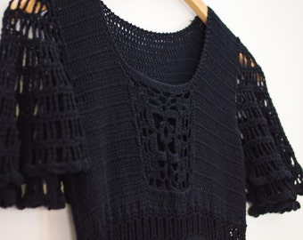 1970s Black CROCHET Floral Sheer Maxi Dress