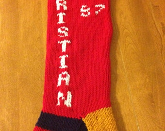 Christmas Stocking Sports Themed, Personalized Christmas Stocking, Knit Sports Theme Stocking,