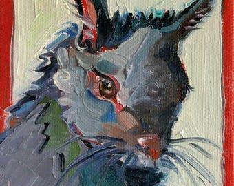"""Abert's Squirrel 4"""" x 4"""" Original Oil Painting"""