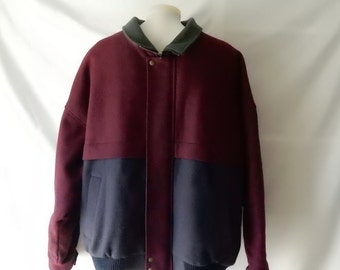 Sz XL Pendleton Stadium Varsity Jacket - Virgin Wool w Thinsulate Fill - Maroon Navy - Made in the USA - Fall Winter - Warm