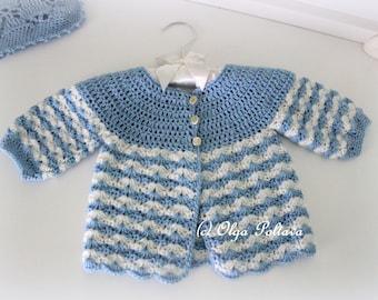 Newborn Baby Sweater Crochet Pattern, Crochet Baby Jacket Size 0-3 Months Pattern, Instant PDF Download
