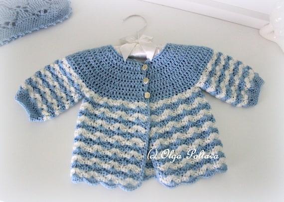 Newborn Baby Sweater Crochet Pattern, Crochet Baby Jacket Size 0-3 ...