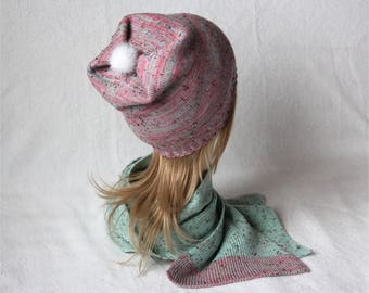 Mint tweed hat and scarf bubble-gum