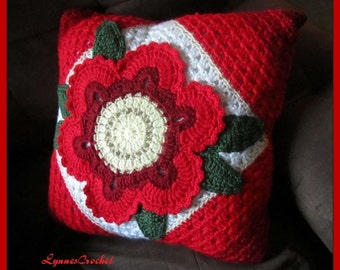 Bright Red Crocheted Flower on this Pretty Crocheted Pillow Cover . .