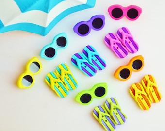 Miniature Flip Flops and Sunglasses  ~Terrarium Accessory ~ Buttons ~ So cute ~ Set of 2 ~ Sunglasses plus Pair of Flip Flops ~ Color Choice