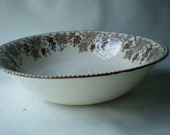 Brown Transferware Serving Bowl Claytan