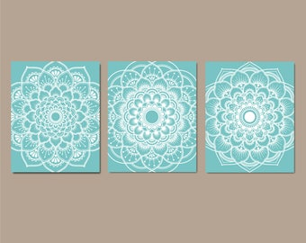 Aqua Wall Art, Mandala Bedroom, Bathroom Decor, Flower Bedroom Pictures, Medallion  Wall