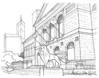 Print: The Chicago Art Institute (Pen and Ink Rendering)