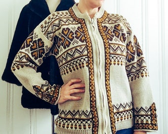 1960's Vintage Gann Sportys Pure Wool Nordic Knit Cardigan Sweater Jumper Pullover Large Extra Large 12 - 16