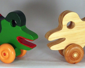 "Wooden Toy ""Bull Frog"" - Child Safe, Handcrafted from Reclaimed Wood, Eco-friendly by GiggleTree Toys"