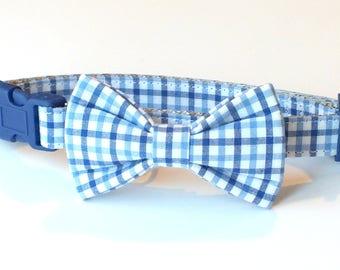 Preppy Blue Plaid Dog Collar Bow Tie set, pet bow tie, collar bow tie, wedding bow tie, pet photography